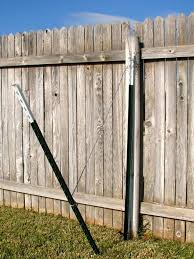 Broken Fence Post Stabilized By T Posts And Guy Wire Fence Post Wood Fence Post Privacy Fence