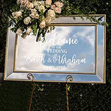 Amazon Com Vinyl Art Decal Custom Welcome To The Wedding Of 22 X 30 Elegant Horizontal Layout Personalized Wedding Greeting Couples Bride Groom Marriage Reception Love Decor Horizontal Arts Crafts