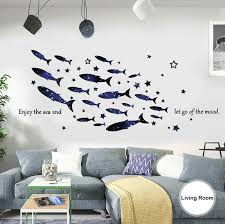Large Diy Star Dream Whale Coral Sea Wall Sticker Pvc Vinyl Nursery Mural Decal