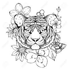 Hand Drawn Ink Doodle Tiger And Flowers On White Background