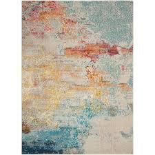 owens sealife teal orange area rug
