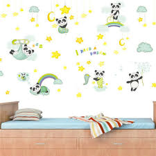 Sleeping Panda Moon Star I Have A Dream Wall Stickers For Kids Room Cartoon Gift For Sale Online