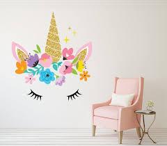 Unicorn Wall Art Decal Girls Bedroom Nursery Wall Decor Etsy