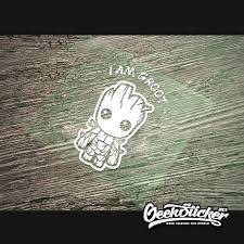Cartoon Cute Baby Groot Car Decal Guardians Inspired Waterproof Reflective Car Macbook Laptop Motorcycle Sticker I Am Groot Geeksticker