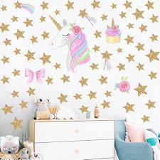 Cartoon Unicorns Flower Wall Stickers Diy Stars Cute Flower Animals Vinyl Home Wall Decals Kids Room Girls Room Decor Decorating Stickers Walls Decorating Wall Stickers From Pcharon 0 77 Dhgate Com