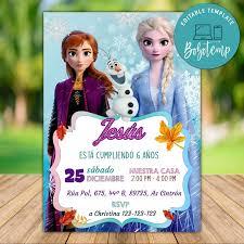 Invitacion De Cumpleanos De Elsa Anna Editable Frozen 2 Descarga Instantanea Bobotemp
