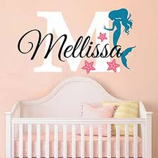 Amazon Com Nursery Mermaid Personalized Custom Name And Initial Wall Decal Sticker 24 W By 14 H Girl Name Wall Decal Girls Name Mermaids Wall Decor Girls Decor Girls Bedroom Plus Free Hello