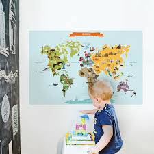 Simpleshapes Children S World Map Poster Wall Decal Wayfair