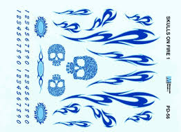 Pinewood Derby Skulls On Fire Blue Decal