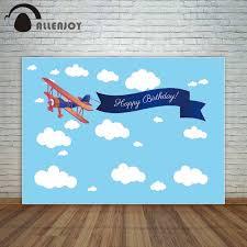 Allenjoy Bautizo Photocall Azul Cielo Cinta Plana Feliz Cumpleanos