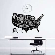 Wall Decal Usa Map Vinyl Applique Sticker Office Decor Large American Map Mural Furniture Living Room Decorl Dt23 Wall Stickers Aliexpress