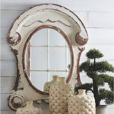 distressed white wash wood oval mirror