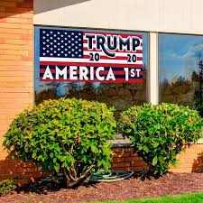 Trump America 1st 21 X 40 Perforated Removable Window Decal Vista Flags