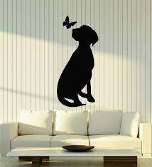Amazon Com Vinyl Wall Decal Dog With Butterfly Silhouette Pet Home Animals Stickers Mural Large Decor G1315 Black Home Kitchen