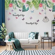 Large Palm Tree Wall Sticker Tropical Plants Butterfly And Flower Wall Decals For Living Room Bedroom Decor Deco Wall Sticker Deco Wall Stickers From Carrierxia 11 06 Dhgate Com