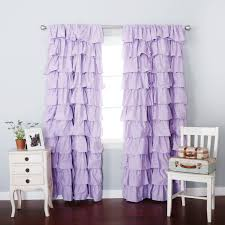 Lilac Blackout Large Waterfall Ruffle Curtain Soft And Feminine Ruffles Are A Gorgeous Addition To Any Room Blackou Ruffle Curtains Curtains Blackout Curtains