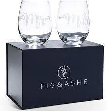 elegant mr and mrs wine glasses