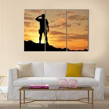 Silhouette Of A Soldier Salutes A The Sunset Wall Art Clarnia