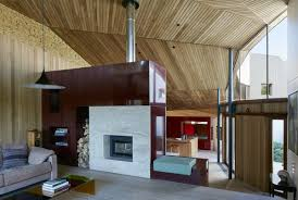 modern living room two sided fireplace