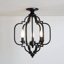 3 light black semi flush mount light