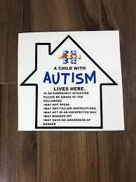 Autism Safety Decal In Case Of An Emergency House Fire First Etsy