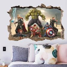 Super Heros 3d Broken Hole Wall Stickers Hulk Wall Decal Kids Room Wall Stickers Superhero Wall Decals
