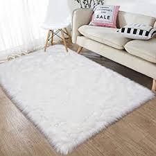 Amazon Com Junovo Luxury Fluffy Area Rugs Furry Rug For Bedroom Faux Fur Sheepskin Nursery Rugs Fur Carpet For Kids Room Living Room Home Decor Floor Mat 3ft X 5ft White Furniture