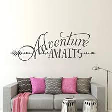 Amazon Com Battoo Adventure Awaits Wall Decal Stickers Adventure Quotes Travel Theme Wall Decor 42 W 14 H Wanderlust Wall Decal Arrow Wall Decal Bedroom Decor Dark Gray Kitchen Dining