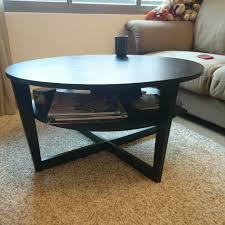 brown round coffee table ikea vejmon