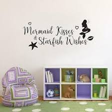 Mermaid Kisses Starfish Wishes Wall Sticker Decal Art Quote Lettering Sq213 Ebay