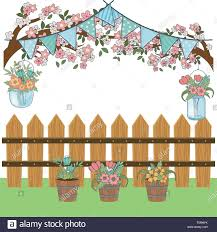 Floral Nature Flowers Garden In Front Wooden Fence Party Scene Cartoon Vector Illustration Graphic Design Stock Vector Image Art Alamy