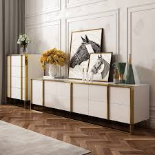 Zack White Black 78 Tv Stand Modern Gold Media Console With 6 Drawer Glass Top Tv Stands Living Room Furniture Furniture