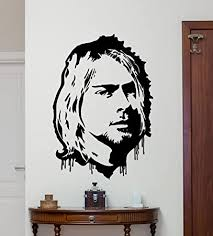 Amazon Com Kurt Cobain Wall Decal Grunge Nirvana Vinyl Sticker Rock Star Singer Music Studio Decal Rock Wall Art Design Housewares Teens Room Nursery Bedroom Decor Removable Wall Mural 7sss Home Improvement