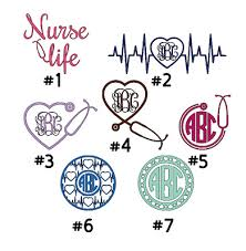 Nurse Monogram 3 Vinyl Decal Sticker For Wine Glass Tumbler Cup Mug Car Ebay