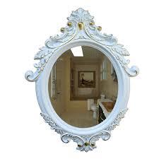 decorative oval wall mirror white