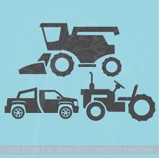 Boys Farm Wall Stickers Set Of 3 Combine Tractor Truck