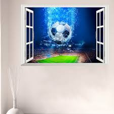 3d Window Football Soccer Ball Wall Stickers For Kids Rooms Living Room Wall Decals Gym Boys Room Pvc Home Mural Art Decorations Buy At The Price Of 3 44 In Aliexpress Com