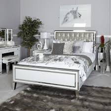 madison white mirrored king size bed
