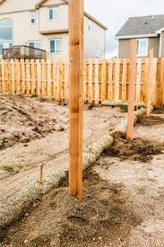 New Fence Construction Fence Posts Cemented Into Ground Stock Photo Download Image Now Istock