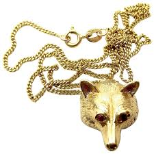 vintage 9ct gold fox head pendant ruby