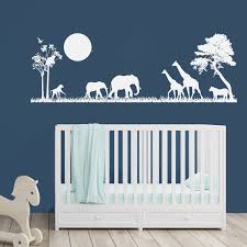 Safari Scene Nursery Wall Art Vinyl Wall Decal Animals Etsy Safari Baby Room Baby Boy Nursery Jungle Safari Vinyl Wall Decals Boys Room
