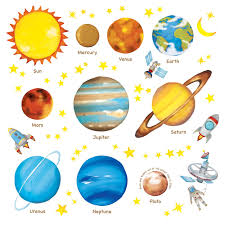 Amazon Com Decowall Dw 1307 Planets In The Space Kids Wall Stickers Wall Decals Peel And Stick Removable Wall Stickers For Kids Nursery Bedroom Living Room Decor Baby