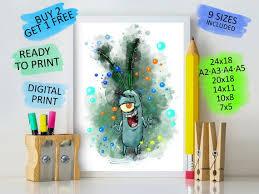 Spongebob Plankton Nursery Decor Plankton Print Digital Etsy