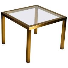 1970s minimal square brass coffee table