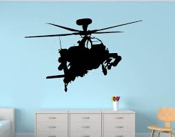 Apache Helicopter Military Wall Decal Us Army Plane Boys Room Etsy