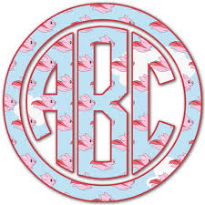Flying Pigs Monogram Decal Custom Sizes Personalized Youcustomizeit