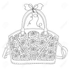 Coloring Page For Adults Bag With Roses Art Therapy Line Art