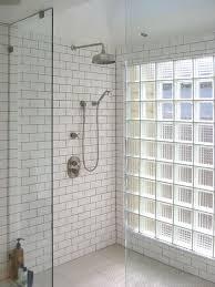 subway tiles industrial shower head