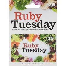 ruby tuesday gift card 25 dollar general