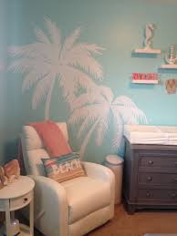 Beach Theme Nursery With White Palm Tree Decals Ocean Themed Bedroom Bedroom Themes Beach Bedroom Decor